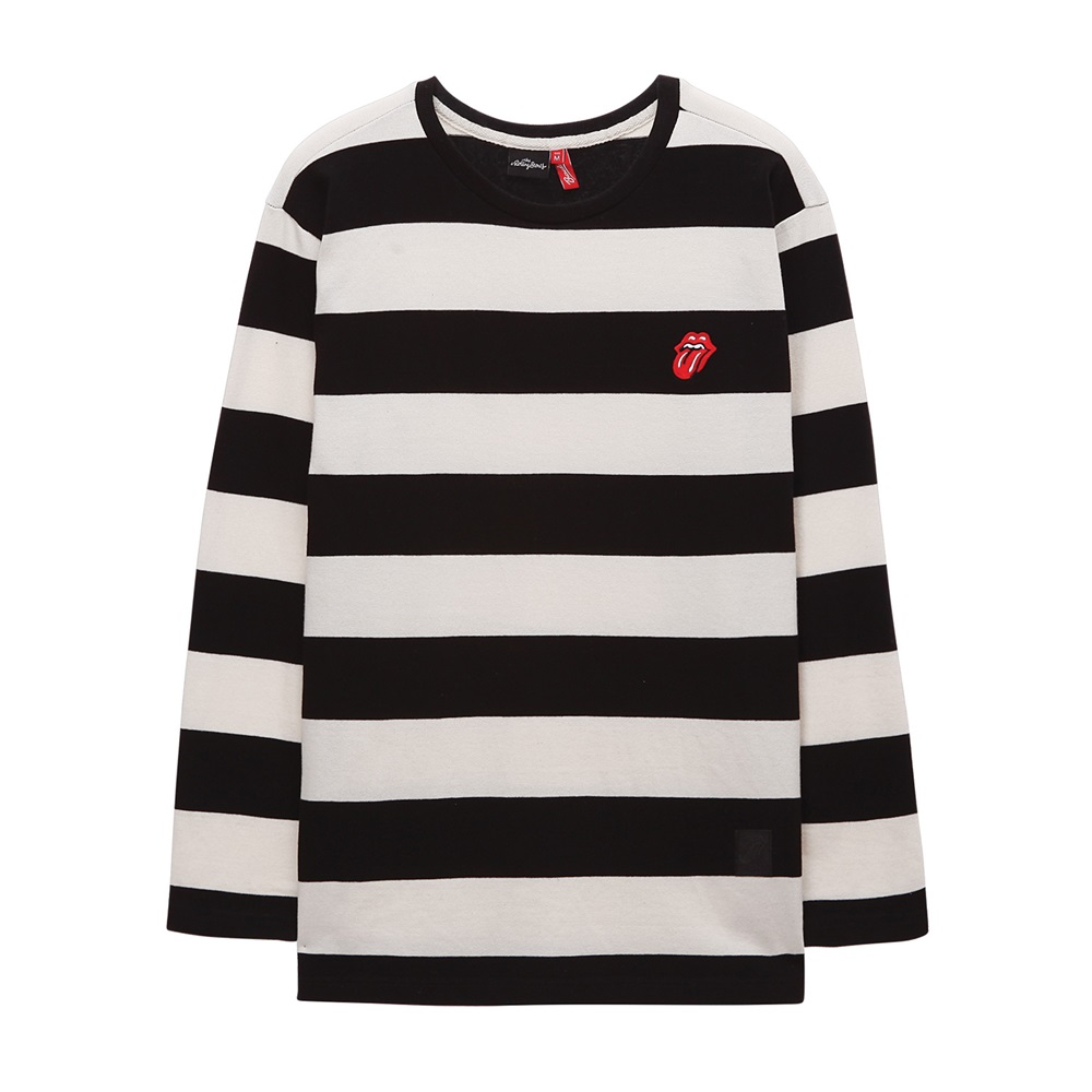 [THE ROLLING STONES]CLASSIC TONGUE STRIPE BORDER TEE BLACK