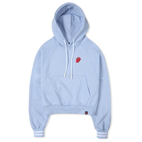THE ROLLING STONES CLASSIC TONGUE CROP HOODIE BLUE