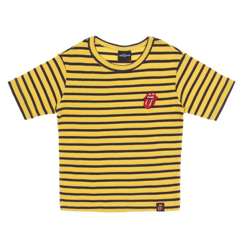 THE ROLLING STONES CLASSIC TONGUE STRIPE CROP TOP YE