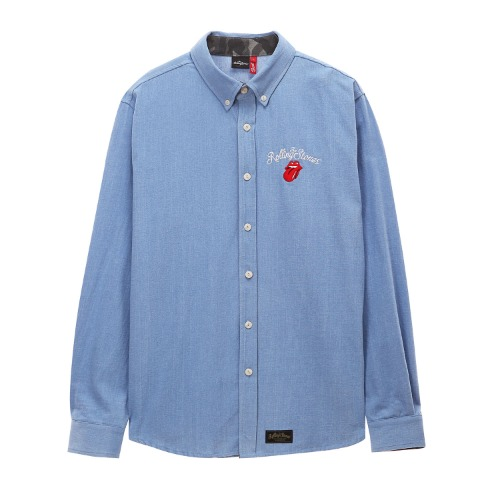 [THE ROLLING STONES] VINTAGE TONGUE DENIM SHIRT