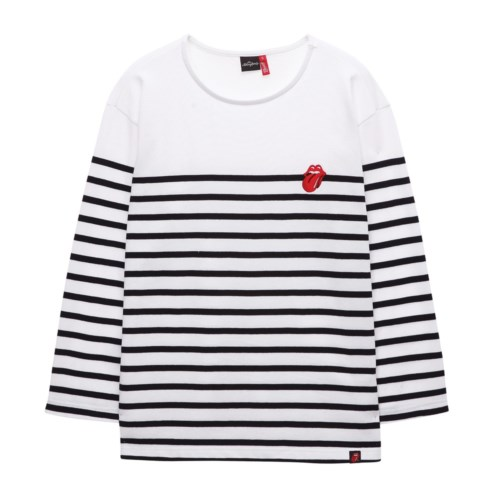 [THE ROLLING STONES] VINTAGE TONGUE STRIPE BORDER TEE WH